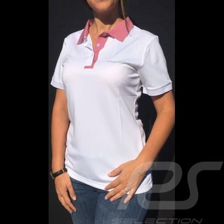 Polo Porsche Taycan Collection Mesh Blanc / Rose Porsche WAP604LTYC white pink weiß rosa femme women damen