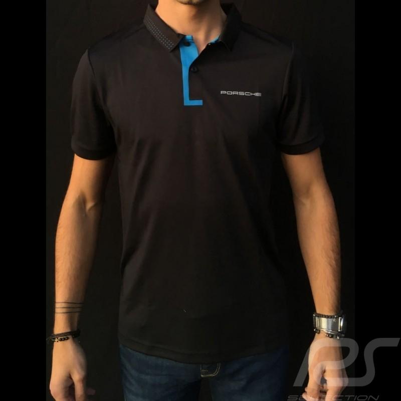 Porsche Polo shirt Taycan Collection Black / Electric blue Porsche Design WAP603LTYC - men