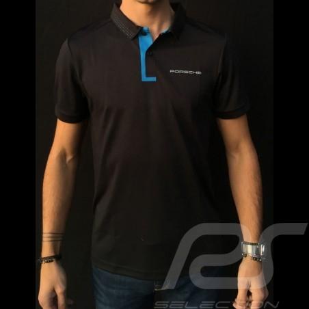 Porsche Polo shirt Taycan Collection Black / Electric blue Porsche WAP603LTYC - men