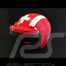 Casque Jo Siffert 1968 réplique n° 75 / 100 rouge bandes blanches drapeau suisse avec visière Helmet Helm