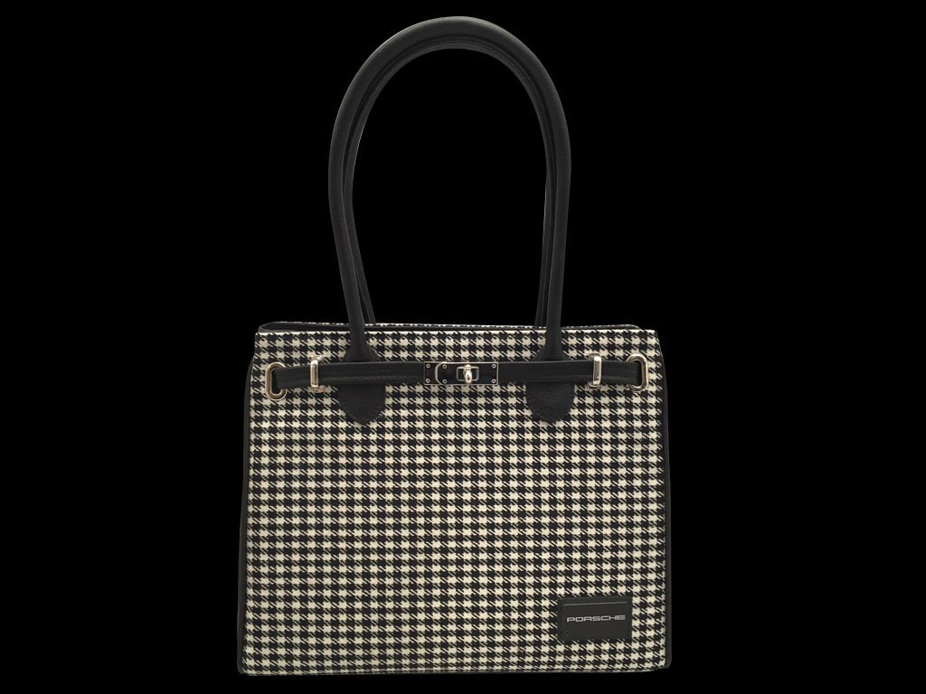 Porsche 911 Classic Handbag Pepita Houndstooth Black Leather Porsche Design Map03828018 Selection Rs