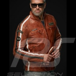 Veste cuir Gulf Lucky Number 69 Racing Team Classic pilote Marron Brown braune Leather jacket lederjacke homme men herren