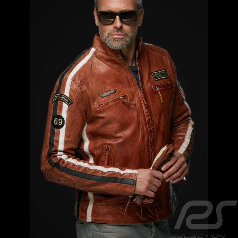 Gulf leather jacket Lucky Number 69 Racing Team Classic driver brown - men