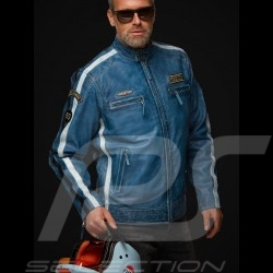 Veste cuir Gulf Lucky Number 69 Racing Team Classic pilote Bleu blue blau leather jacket jederjacke homme men herren