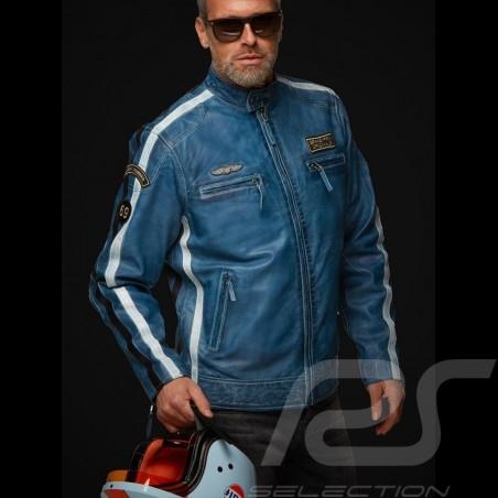 Gulf Lederjacke Lucky Number 69 Racing Team Classic driver blau - Herren