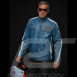 Gulf leather jacket Lucky Number 69 Racing Team Classic driver blue - men