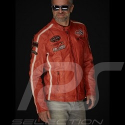 Veste cuir Gulf Dakota Super Sport Racing Team Classic pilote Orange leather jacket lederjacke homme men herren