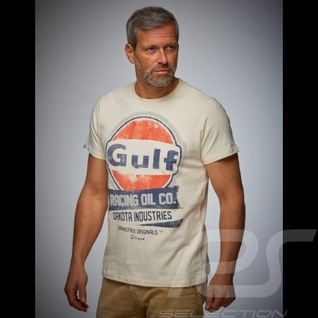 T-shirt homme men Herren Gulf Oil Racing beige crème cream Kreme