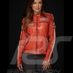 Veste cuir Gulf Dakota Super Sport Racing Team Classic pilote Orange leather jacket lederjacke femme women damen