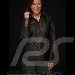 Veste cuir lady driver matelassée Quilted leather jacket Gesteppt lederjacke noire black schwarz femme women damen