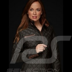 Lady driver quilted leather jacket black - women