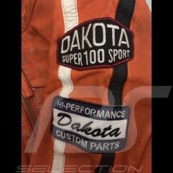 Gulf leather jacket Dakota Super Sport Racing Team Classic driver Orange - men