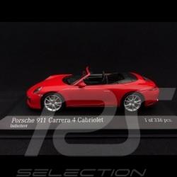 Porsche 911 type 991 Carrera 4 Cabriolet 2016 rouge Indien 1/43 Minichamps 410067230