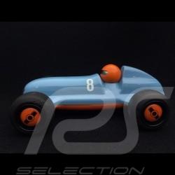 Vintage Hölzerner Rennwagen für Kinder Gulfblau Holzauto Schuco 450987200