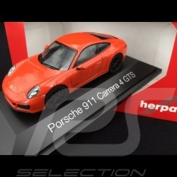 Porsche 911 type 991 phase II Carrera 4 GTS 2017 lava orange 1/43 Herpa 071468