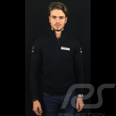 Pull Adidas Porsche Motorsport en maille Coton mélangé Noir Porsche Design WAX10101 knit sweater Strickpullover