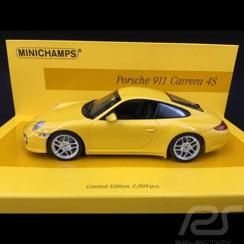 Porsche 911 type 997 Carrera 4S Phase 2 2009 jaune 1/43 Minichamps 436066420