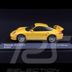 Porsche 911 type 997 GT2 mk 1 2008 speedgelb 1/43 Mnichamps 400066300