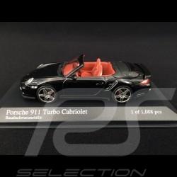Porsche 911 type 997 turbo cabriolet 3.6 mk 1 2007 Black Basalt 1/43 Minichamps 400065230