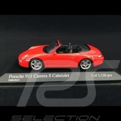 Porsche 911 type 997 Carrera S Cabriolet ph 1 2005 rouge indien 1/43 Minichamps 400063030 guards red indischrot