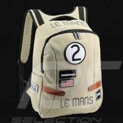 24h Le Mans Legende Classic backpack Beige Cotton Official Supply LM300BE-20B