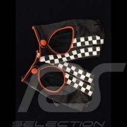 Gants de conduite sans doigts mitaines cuir Racing noir / orange drapeau à damier gloves Handschuhe
