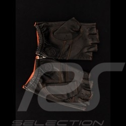 Driving Gloves fingerless mittens leather Racing black / orange checkered flag
