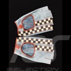 Fahren Handschuhe fingerless Leder Racing blau / orange Zielflagge