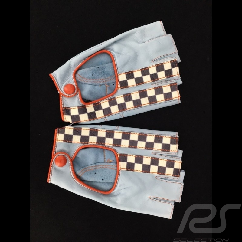 Driving Gloves fingerless mittens leather Racing blue / orange checkered flag