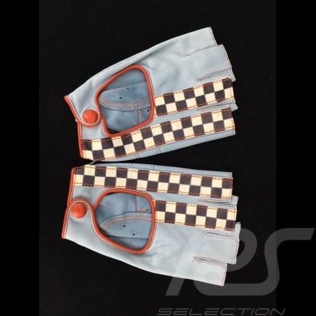 Gants de conduite sans doigts mitaines cuir Racing bleu / orange drapeau à damier gloves Handschuhe