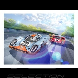 Poster Porsche 917 K n° 20 Gulf Steve McQueen Le Mans Full Speed