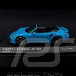 Porsche 911 type 991 phase II Turbo S Cabriolet 2016 bleu blue blau miami 1/43 Minichamps 410067182