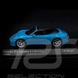 Porsche 911 type 991 phase II Carrera 4S Cabriolet 2016 miami blue 1/43 Minichamps 410067232