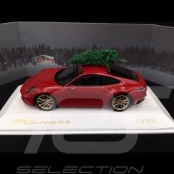 Porsche 911 type 992 Carrera 4S 2019 rouge red rot carmin avec sapin de Noël 1/43 Spark WAXL2000002