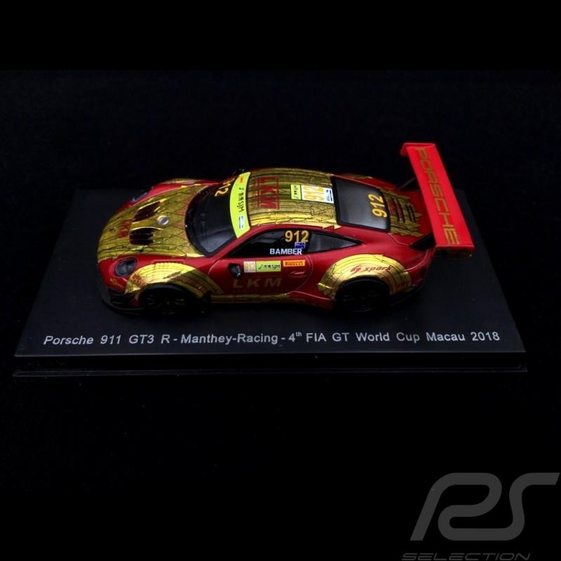 Porsche 911 GT3 R type 991 Macau GT World Cup 2018 n° 912 Manthey 1/64 Spark Y126