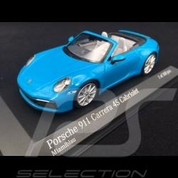 Porsche 911 type 992 Carrera 4S Cabriolet 2019 Miami blue 1/43 Minichamps 410069332
