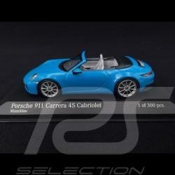 Porsche 911 typ 992 Carrera 4S Cabriolet 2019 Miamiblau 1/43 Minichamps 410069332