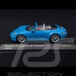 Porsche 911 type 992 Carrera 4S Cabriolet 2019 bleu blue blau Miami 1/43 Minichamps 410069332