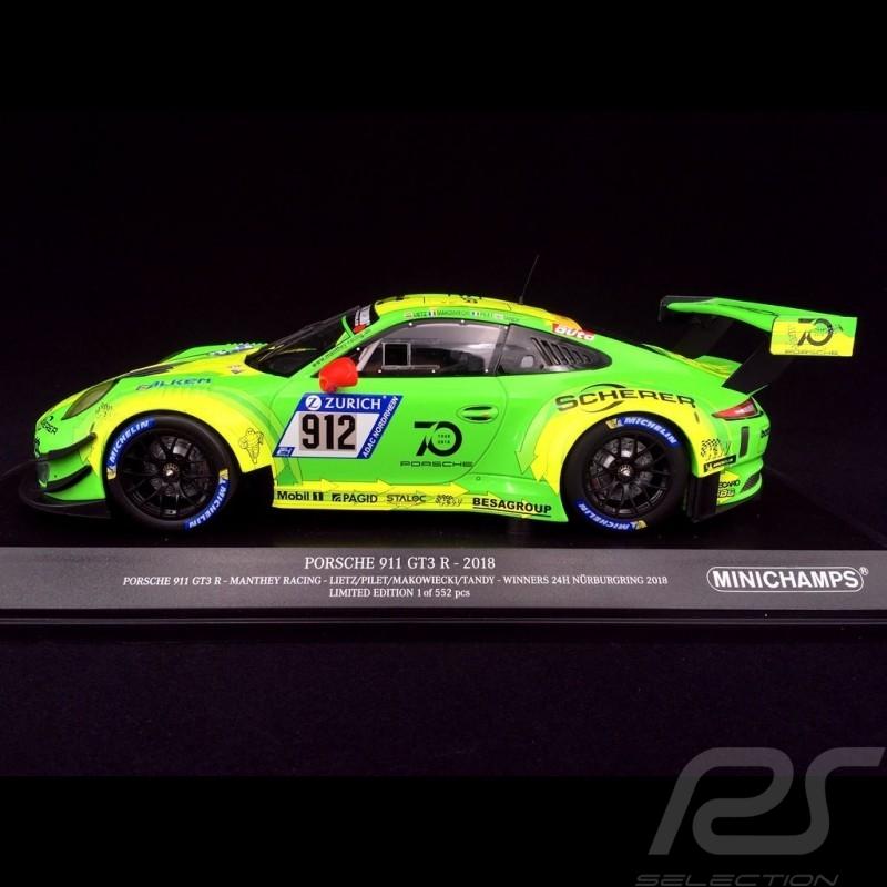 Porsche 911 type 991 GT3 R Winner Nürburgring 2018 n° 912 Manthey racing 1/18 Minichamps 155186912