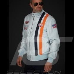 Gulf Steve Mc Queen Le Mans Jacke Baumwolle Gulfblau Sonderedition - herren