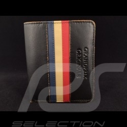 Portefeuille Gulf vintage Porte monnaie et porte cartes Cuir noir wallet Geldbeutel