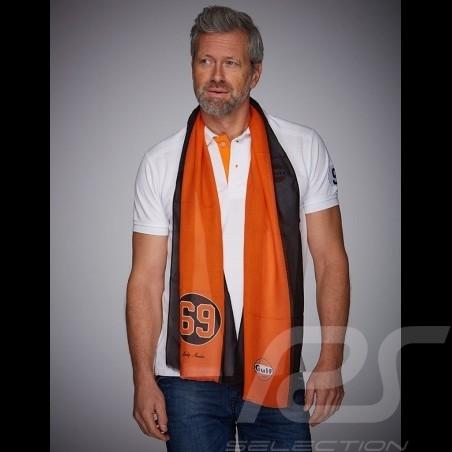 Foulard scarf schal Gulf n° 69 bandes orange et noir