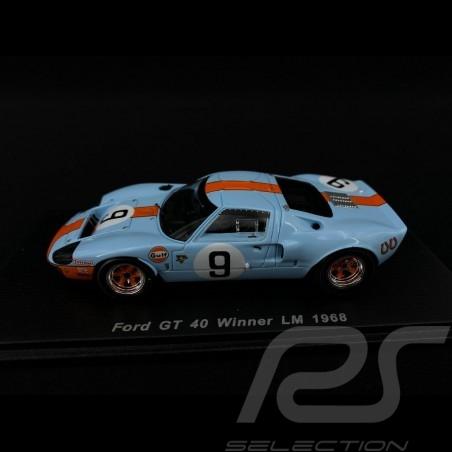 Ford GT40 Mk I n° 9 Gulf Vainqueur Winner Sieger Le Mans 1968 1/43 Spark 43LM68