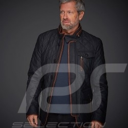 Leather jacket Gentleman driver Miles Quilted Slate grey - men