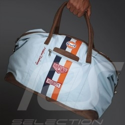 Gulf Travel bag Derek Bell signature navy blue cotton / leather
