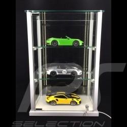 Vitrine exposition Eclairage LED Spéciale modèles réduits jusqu'à 15 miniatures Porsche à l'échelle 1/43 Display showcase glasvi