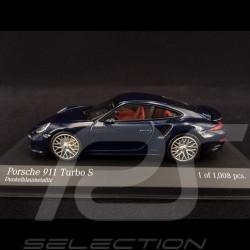 Porsche 911 Typ 991 Turbo S blau 1/43 Minichamps 410062220