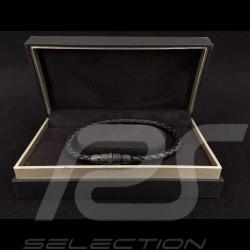 Porsche Armband geflochtenes schwarzes Leder Grooves 2.0 Porsche Design