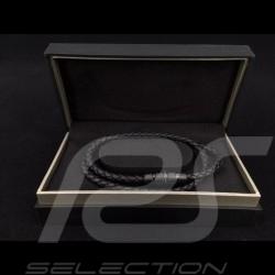 Bracelet Porsche double cuir noir tressé Grooves 2.0 Porsche Design