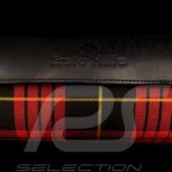 Original Porsche Tartan bag with straps plaid fabric / Black Recaro leather - first aid kit included